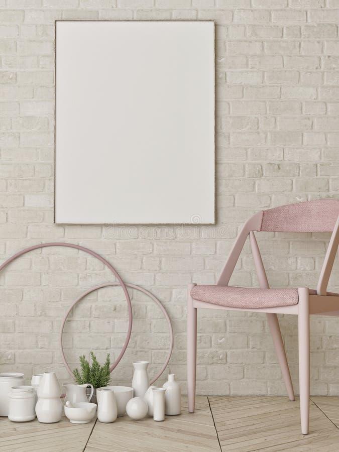 Spot op affiche op witte bakstenen muur, hipster samenstelling met cirkel en stoel vector illustratie