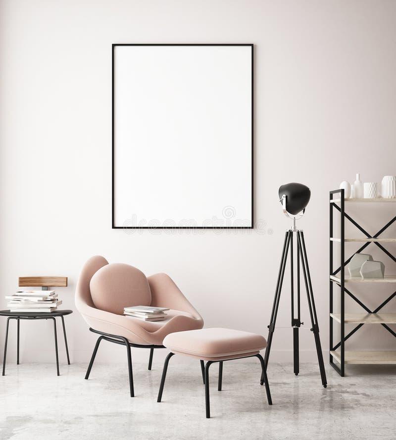 Spot op affiche in zitkamer hipster ruimte, gekleurde pastelkleur, stock illustratie