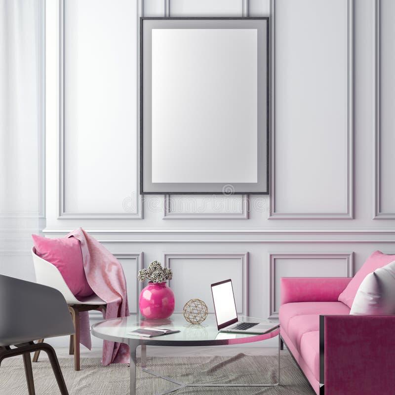 Spot op affichekader in binnenlandse achtergrond en klassieke muur, 3D illustratie stock illustratie