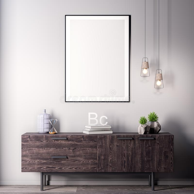 Spot op affichekader in Binnenlandse, moderne stijl, 3D illustratie stock afbeeldingen