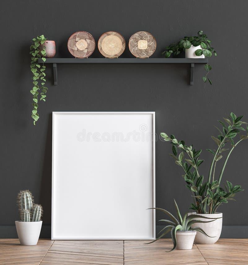 Spot op affichekader dichtbij zwarte muur met bloemen vector illustratie