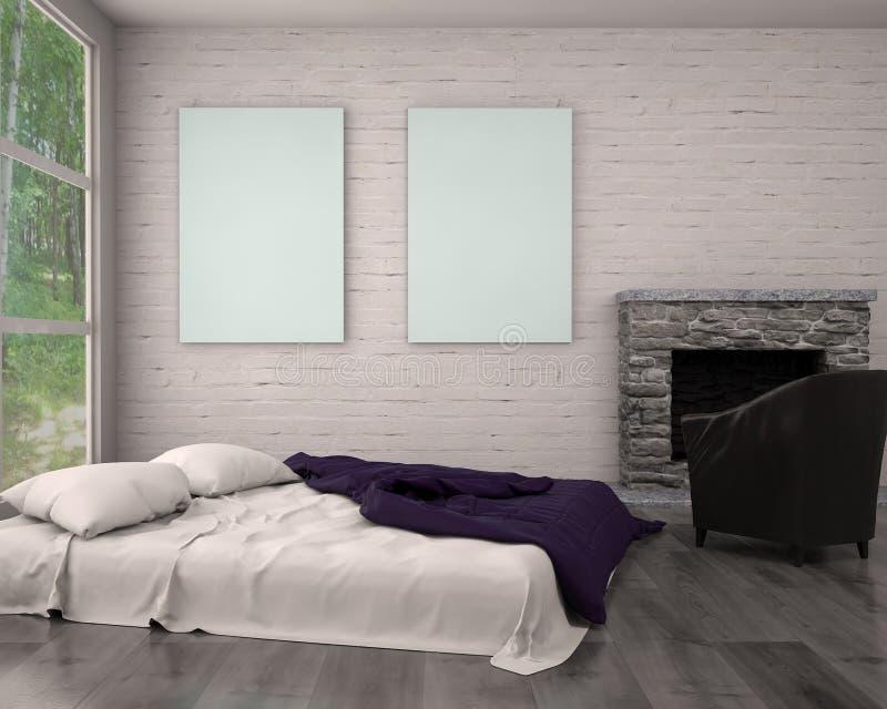 Spot op affichekader in hipster binnenlandse moderne woonkamer stock illustratie
