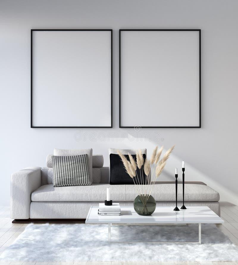 Spot op affichekader op huis binnenlandse achtergrond, Moderne stijlwoonkamer stock afbeelding