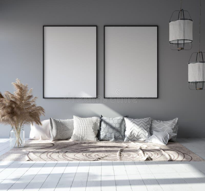 Spot op affichekader op huis binnenlandse achtergrond, Skandinavische Boheemse stijlwoonkamer in zolder vector illustratie
