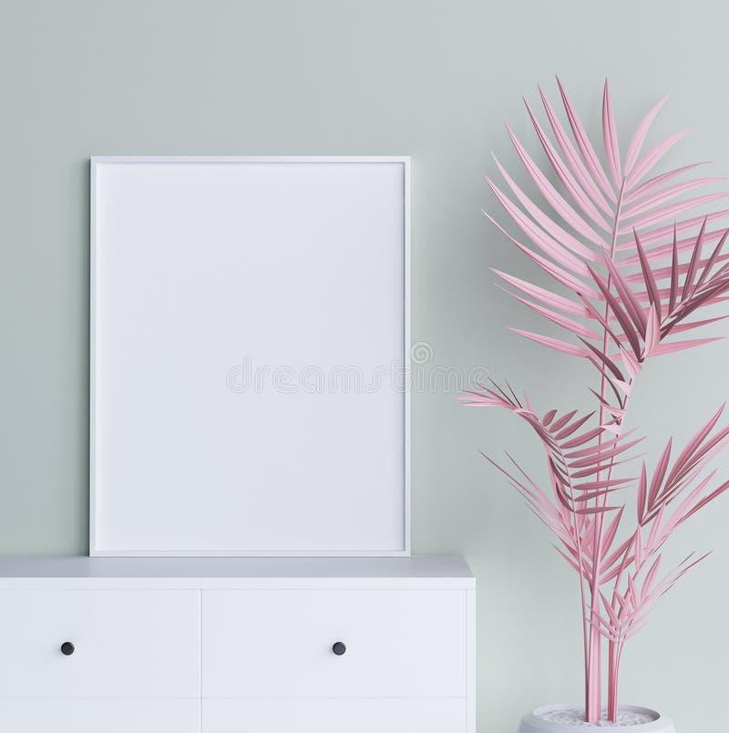 Spot op affichekader met pastelkleur roze installatie op binnenlandse achtergrond royalty-vrije illustratie