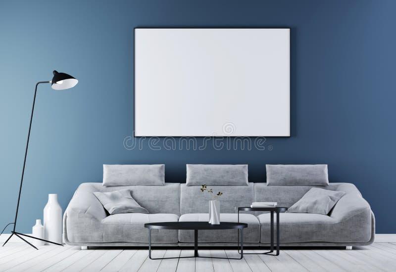 Spot op affichekader in modern uitstekend binnenland, woonkamer met witte leerbank stock illustratie