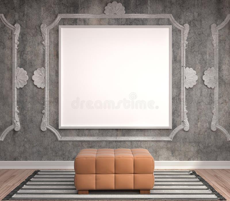 Spot op affichekader op binnenlandse achtergrond 3D Illustratie stock illustratie