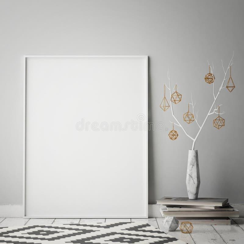 Spot op affichekader op hipster binnenlandse achtergrond, christamasdecoratie, Skandinavische stijl, vector illustratie