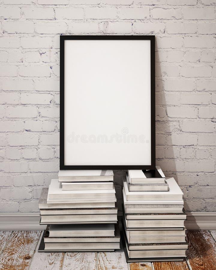 Spot op affichekader op Palle van boeken in zolderbinnenland royalty-vrije illustratie