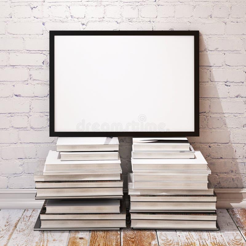 Spot op affichekader op stapel van boeken in zolderbinnenland royalty-vrije illustratie