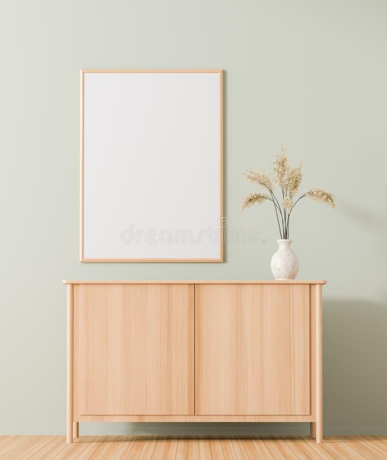 Spot op affichekader in Skandinavisch stijlbinnenland met houten lade Minimalistisch binnenlands ontwerp 3D Illustratie stock illustratie