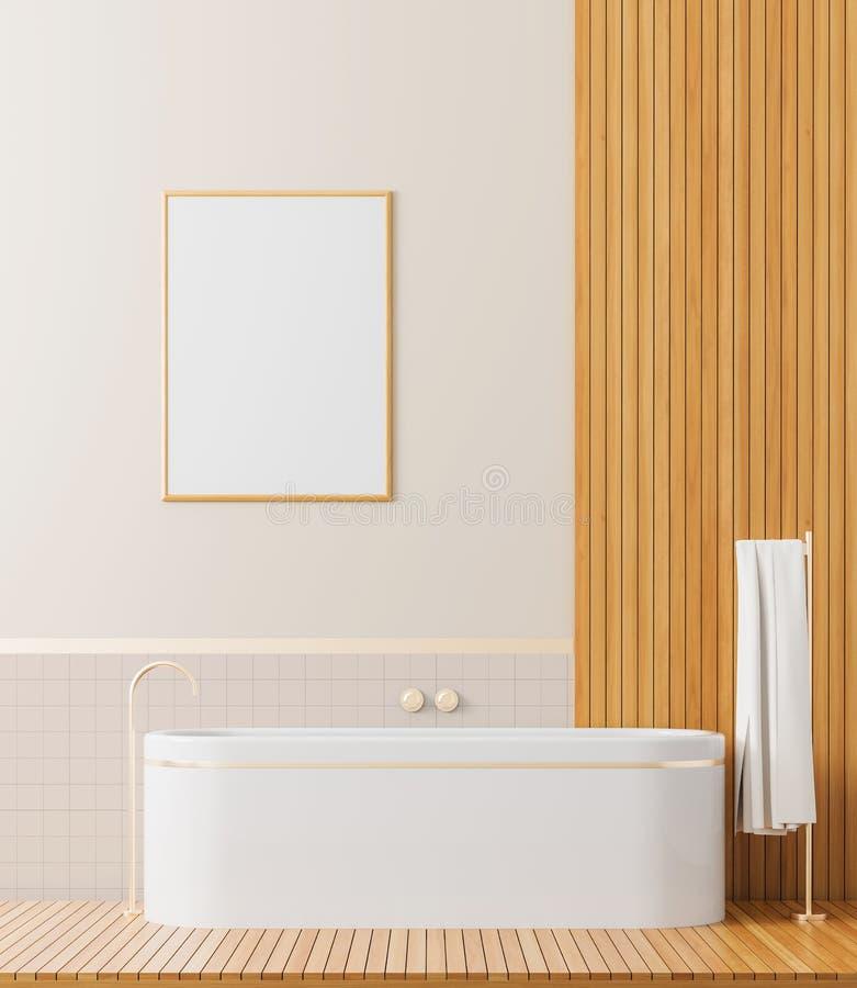 Spot op affichekader in Skandinavische stijlbadkamers Modern badkamersontwerp 3D Illustratie stock afbeelding