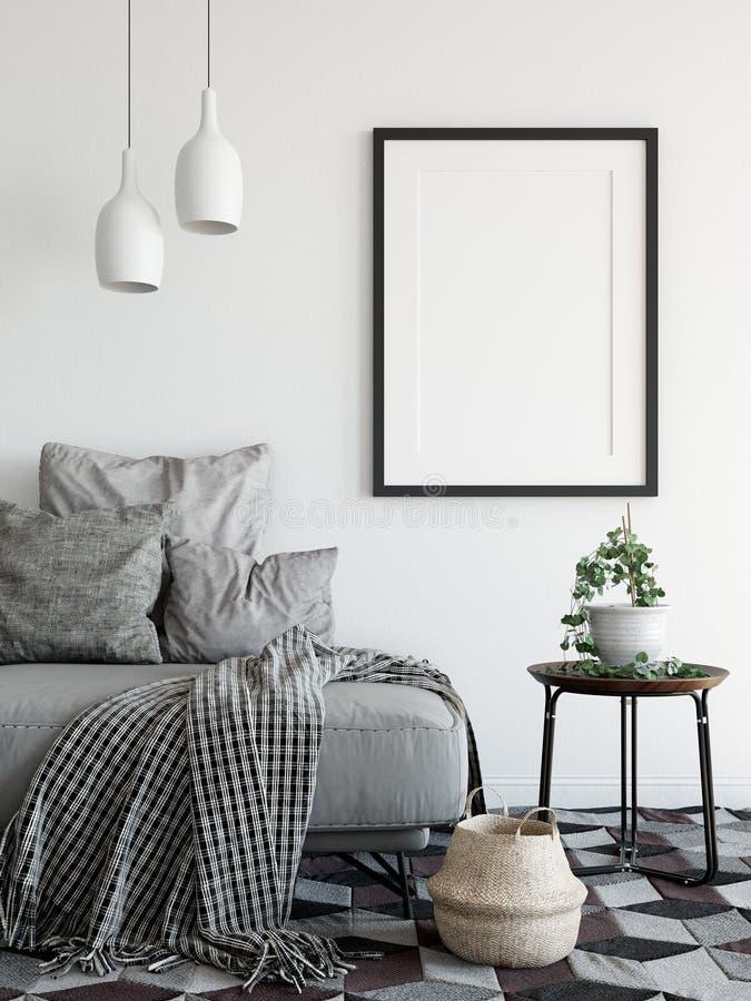 Spot op affiches in woonkamerbinnenland Binnenlandse Skandinavische stijl het 3D Teruggeven, 3D Illustratie royalty-vrije illustratie
