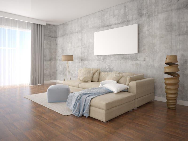 Spot op affichewoonkamer met modieuze staande lamp vector illustratie