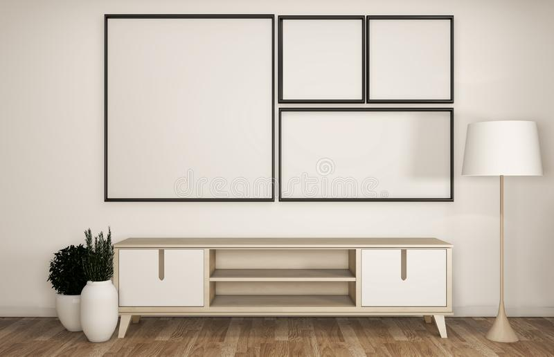 Spot op bekendheid en kabinet in moderne lege ruimte Japanner - zen stileer, minimale ontwerpen het 3d teruggeven vector illustratie
