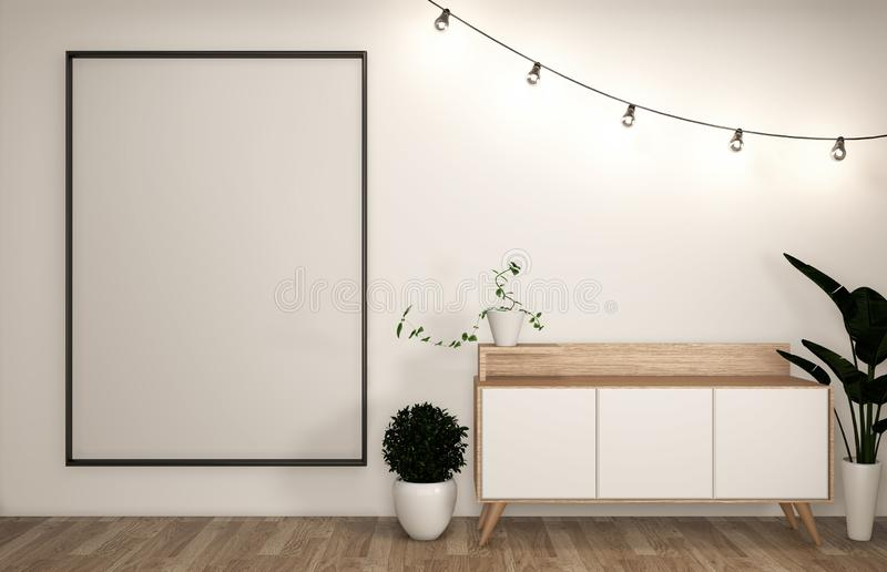Spot op bekendheid en kabinet in moderne lege ruimte Japanner - zen stileer, minimale ontwerpen het 3d teruggeven royalty-vrije illustratie
