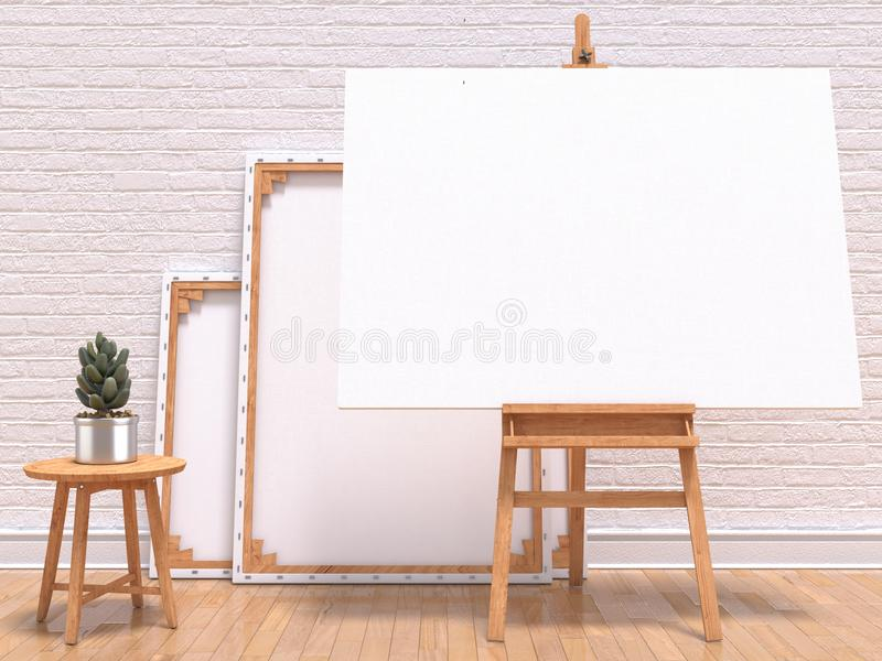 Spot op canvaskader met installatie, schildersezel, vloer en muur 3d geef terug stock illustratie