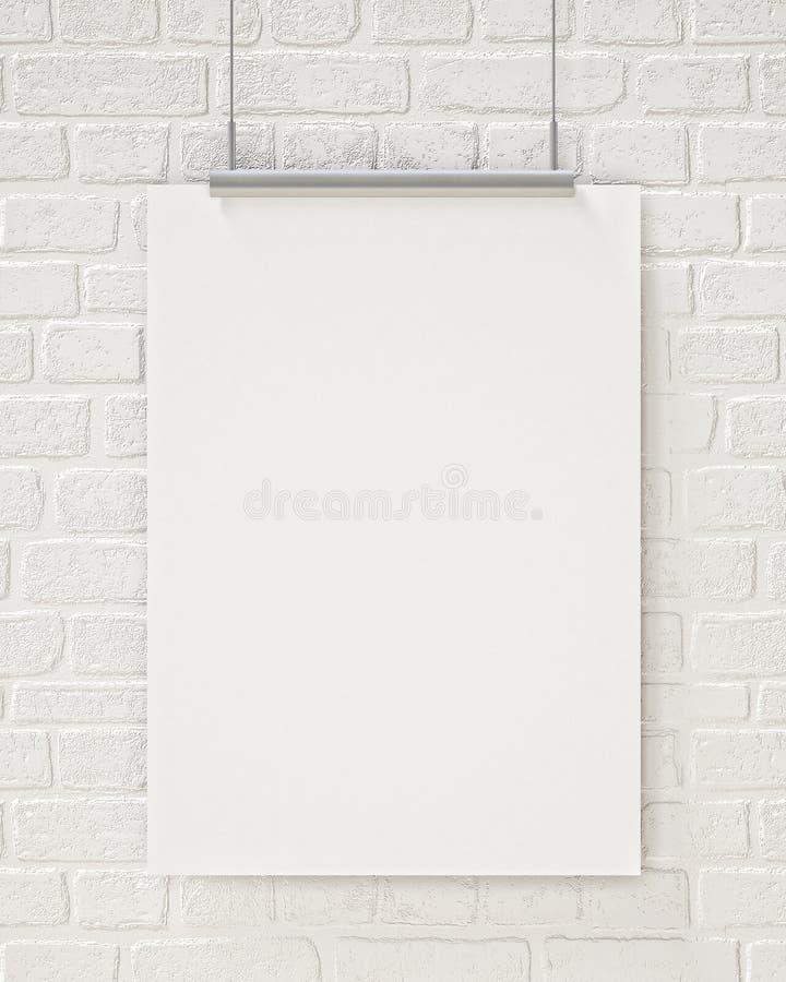 Spot op het lege affiche hangen op de witte bakstenen muur, achtergrond royalty-vrije stock foto's