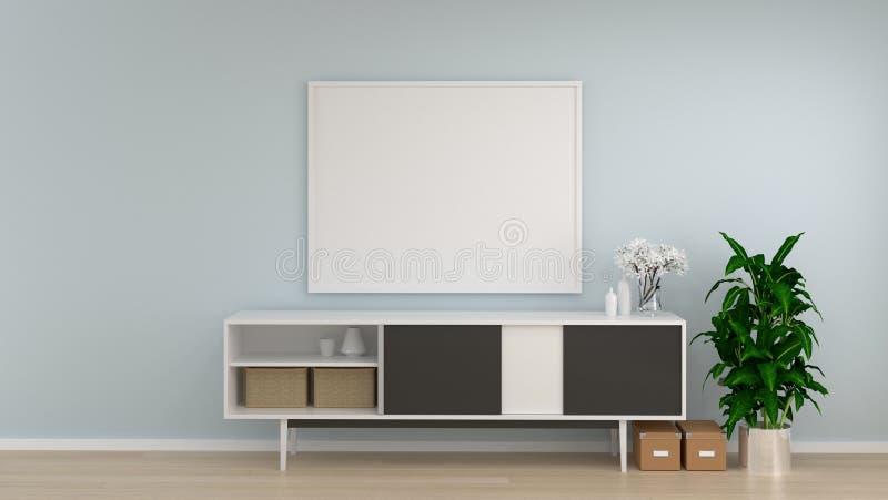 Spot op kabinet van de kader het witte ruimte in woonkamer binnenlandse achtergrond, 3D het teruggeven lege muur en sierboomexemp royalty-vrije illustratie