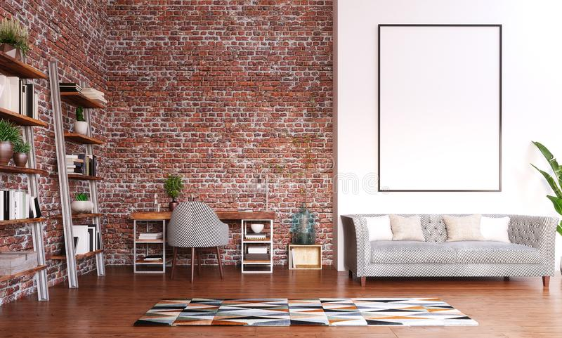 Spot op kader in het ontwerp van het Huisbureau, moderne werkruimteruimte royalty-vrije stock afbeelding