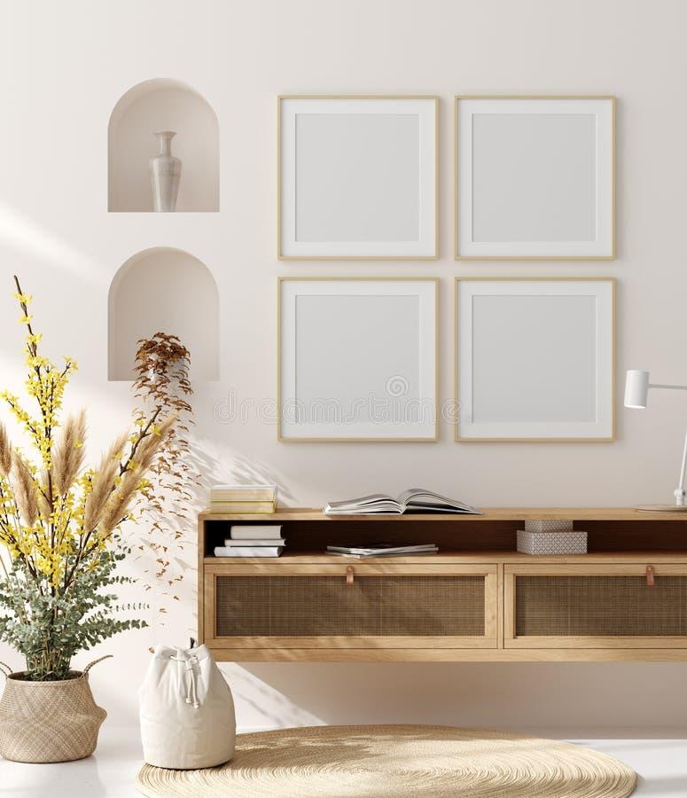 Spot op kader op huis binnenlandse achtergrond, beige ruimte met natuurlijk houten meubilair, Skandinavische stijl stock fotografie