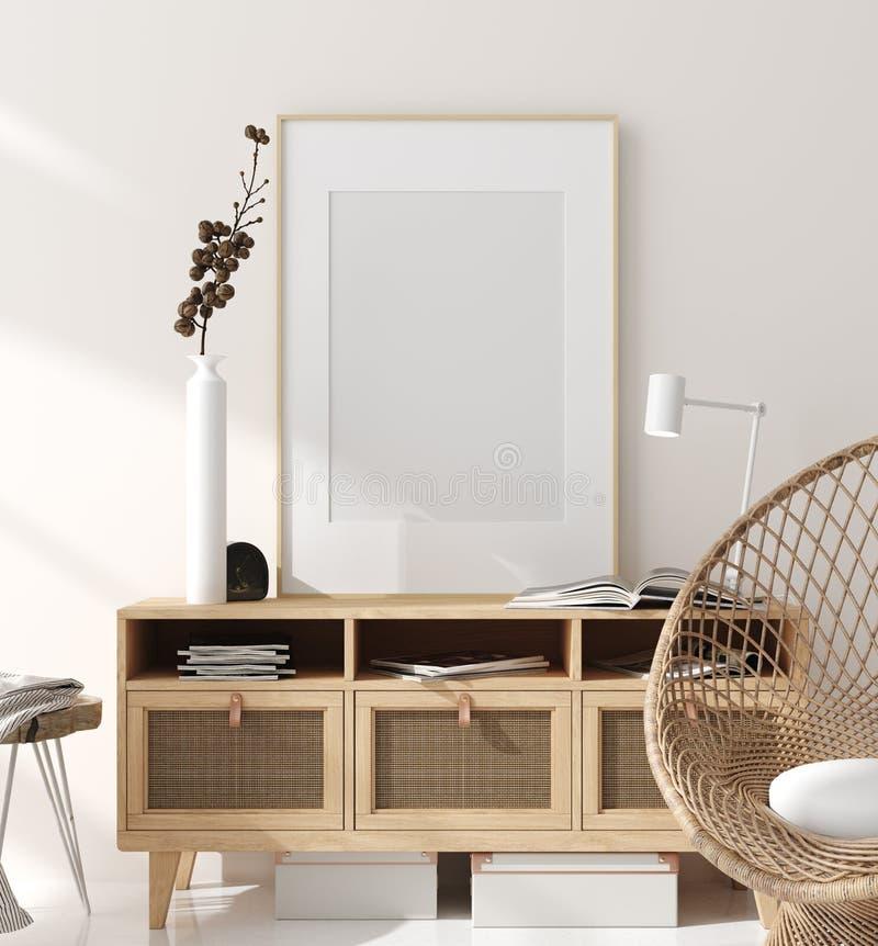 Spot op kader op huis binnenlandse achtergrond, beige ruimte met natuurlijk houten meubilair, Skandinavische stijl stock foto
