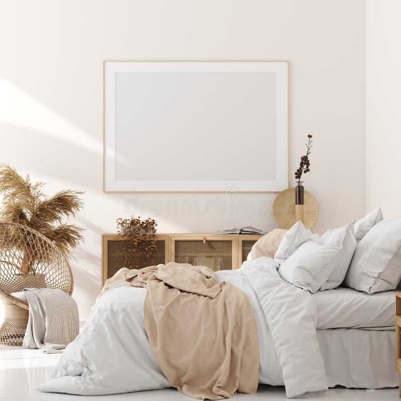Spot op kader in slaapkamer binnenlandse, beige ruimte met natuurlijk houten meubilair, Skandinavische stijl royalty-vrije illustratie