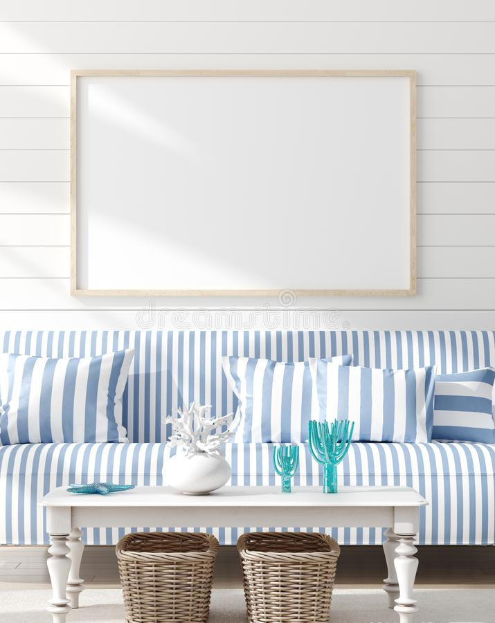 Spot op kader in slaapkamer binnenlandse, mariene ruimte met overzees decor en meubilair, Kuststijl stock fotografie