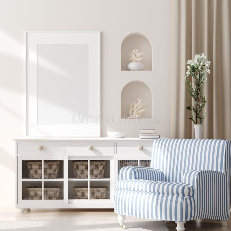 Spot op kader in slaapkamer binnenlandse, mariene ruimte met overzees decor en meubilair, Kuststijl royalty-vrije stock fotografie