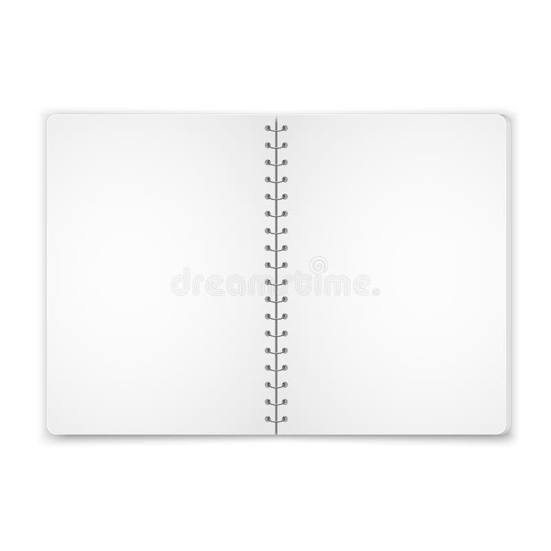 Spot op leeg open notitieboekje met metaal spiraalvormig die malplaatje op witte achtergrond wordt geïsoleerd Realistische vector royalty-vrije illustratie