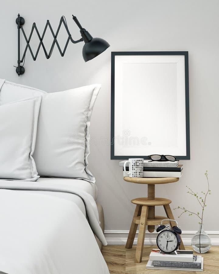 Spot op lege affiche op de muur van slaapkamer, 3D illustratieachtergrond royalty-vrije illustratie