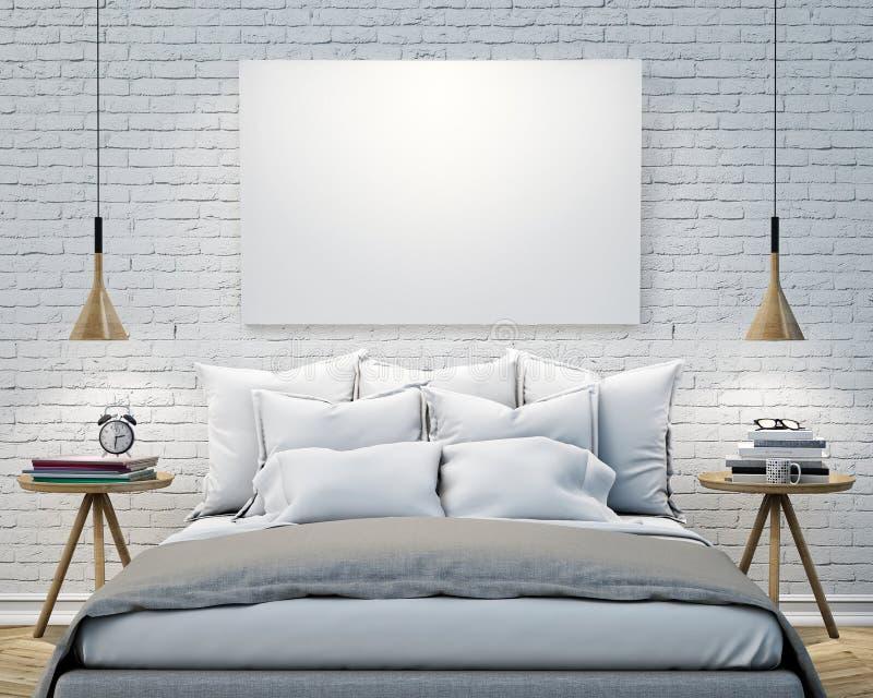 Spot op lege affiche op de muur van slaapkamer, 3D illustratieachtergrond