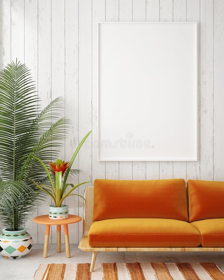Spot op lege affiche op de muur van uitstekende woonkamer vector illustratie
