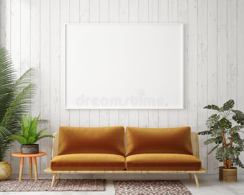 Spot op lege affiche op de muur van uitstekende woonkamer stock illustratie