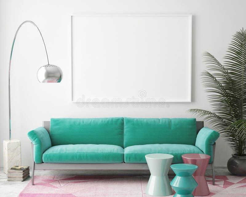 Spot op lege affiche op de muur van uitstekende woonkamer, stock illustratie
