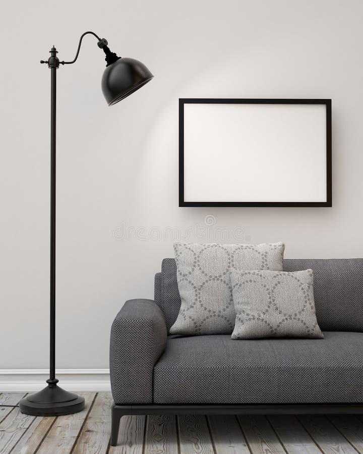 Spot op lege affiche op de muur van woonkamer, achtergrond