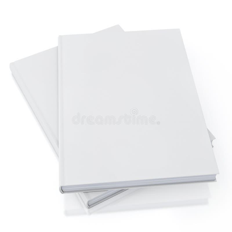 Spot op lege witte die boeken, op witte achtergrond, malplaatje wordt geïsoleerd royalty-vrije illustratie