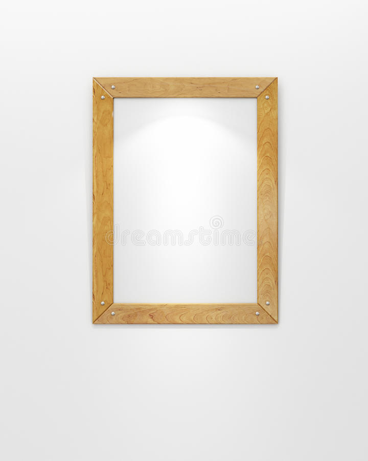 Spot op model van lege houten omlijsting op witte muur met schijnwerper royalty-vrije stock foto's