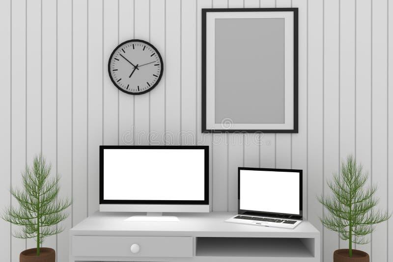 Spot op ontwerp in witte ruimte met laptop en computerbinnenland in het 3D teruggeven stock illustratie