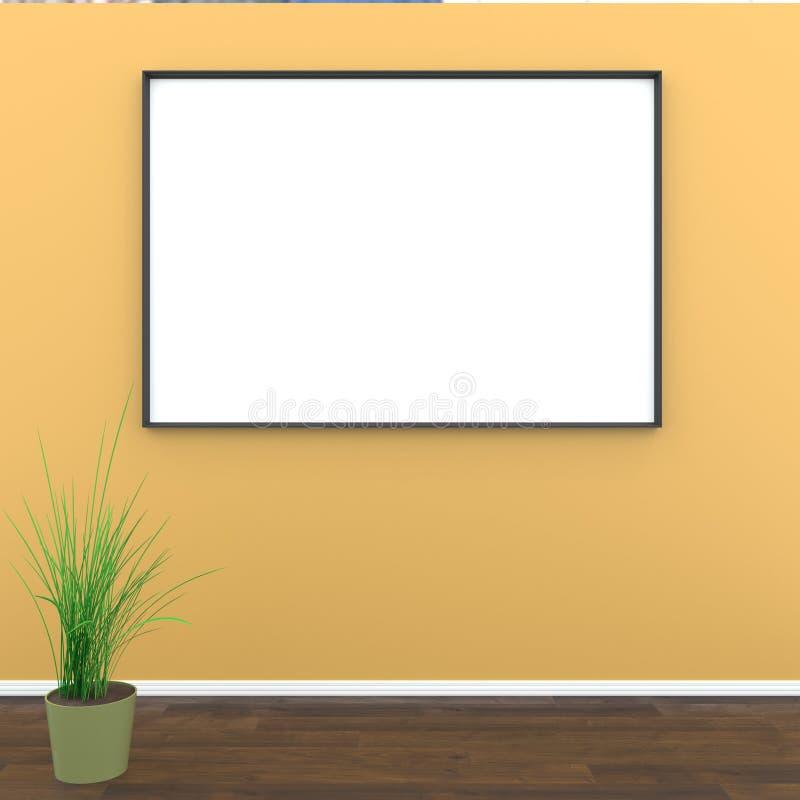 Spot op ruimte, witte affiche bij het oranje muur 3D teruggeven vector illustratie