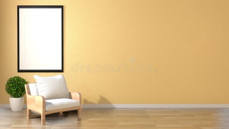 Spot op stijl van woonkamer de binnenlandse zen met leunstoelkader en installaties op lege gele muurachtergrond het 3d teruggeven stock illustratie