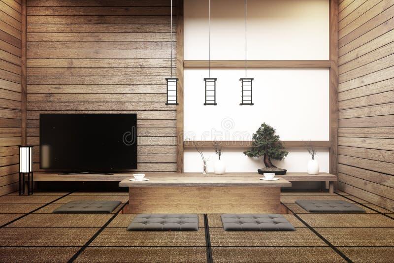 Spot op TV Japan - Slimme TV op lijst in ruimte Japanse stijl met lamp en bonsaiboom het 3d teruggeven stock illustratie