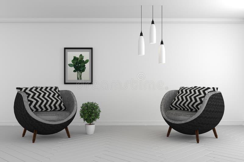 Spot op woonkamer binnenlandse spot omhoog met twee leunstoelen op lege muurachtergrond, het 3D teruggeven vector illustratie