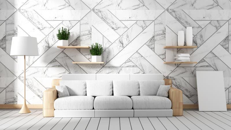 Spot op woonkamerbinnenland met bank en groene installaties op de achtergrond van de granietmuur, minimale ontwerpen, het 3d teru stock illustratie