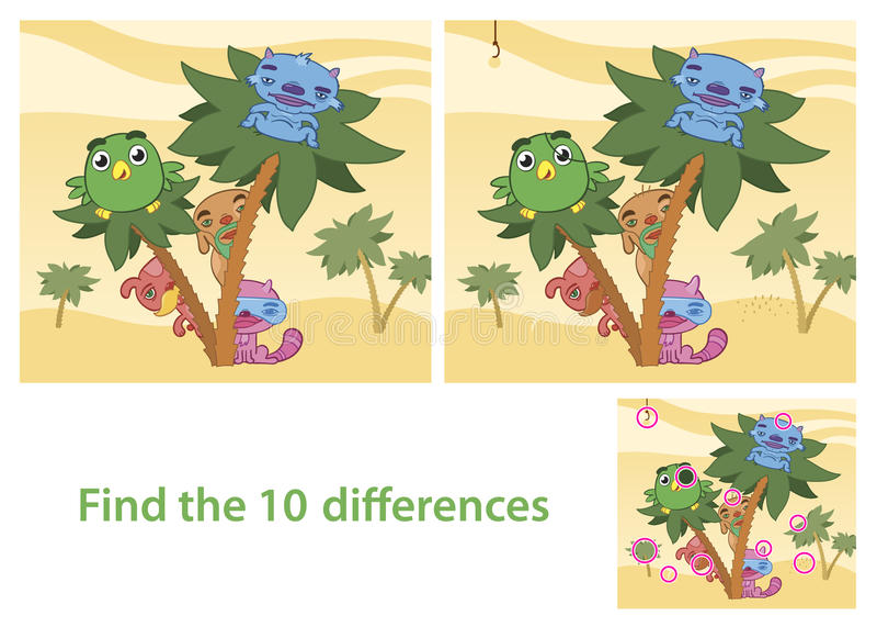 Spot skillnadexpertisleken med svarsbild stock illustrationer