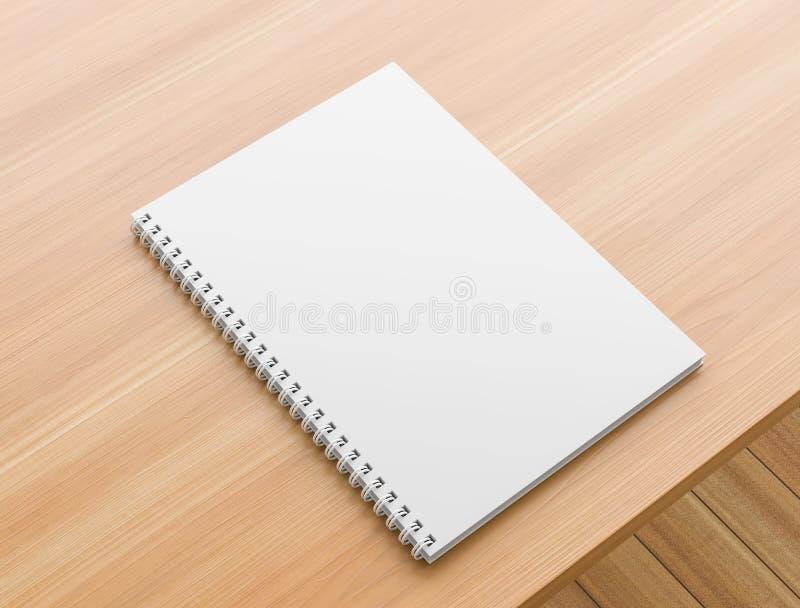 A4 spot van het formaat de spiraalvormige bindende notitieboekje omhoog op houten lijst Realistische notitieboekjespot omhoog 3D  stock fotografie