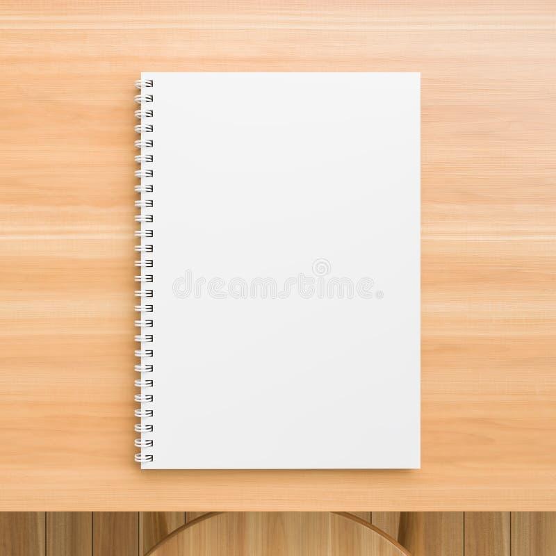 A4 spot van het formaat de spiraalvormige bindende notitieboekje omhoog op houten lijst Realistische notitieboekjespot omhoog 3D  royalty-vrije stock foto's