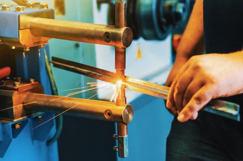 Spot Welding Machine. In workshop stock photography
