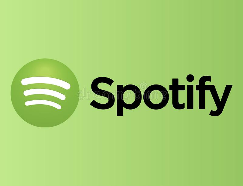 Spotify logo on green paper stock illustration