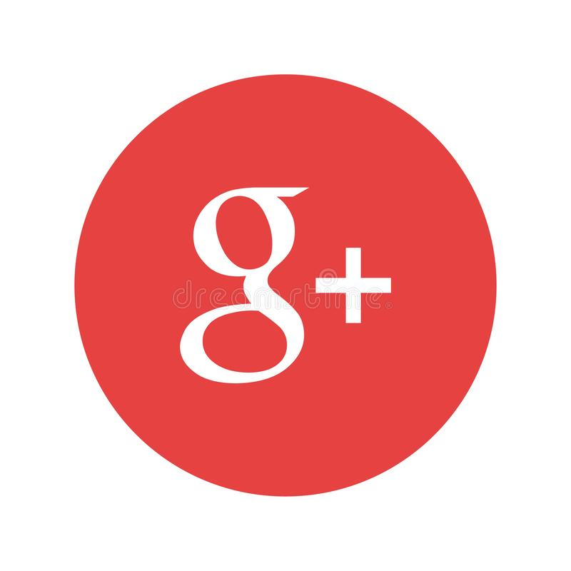 Google plus logo printed on paper. Spotify music streaming service icon on paper stock illustration